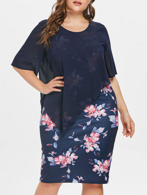 ab026c29c1cb 71% OFF] 2019 Plus Size Knee Length Floral Dress In CADETBLUE ...