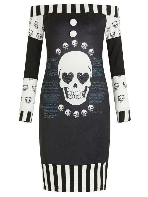 Off Shoulder Skulls Letters Stripes Halloween Dress - multicolor 2XL
