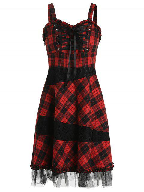 Lace Up Plaid Lace Spliced Strap Dress - FIRE ENGINE RED M