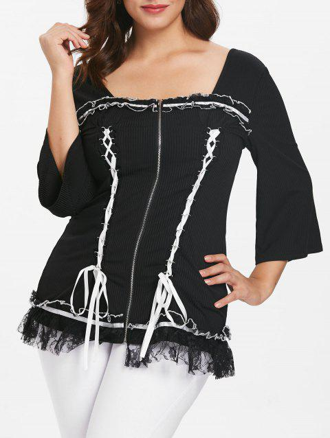 Plus Size Lace Up Ribbed Top with Sleeves - BLACK L