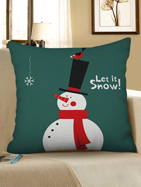 Christmas Snowman Linen Pillowcase - DEEP GREEN W18 X L18 INCH