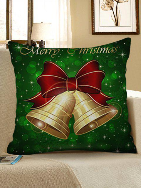Merry Christmas Bells Printing Decorative Linen Pillowcase - MEDIUM FOREST GREEN W18 X L18 INCH