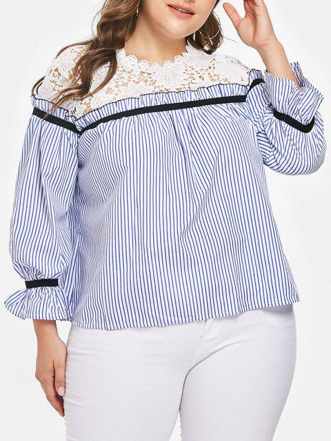 Striped Ruffle Trim Plus Size Shirt - SKY BLUE 3X