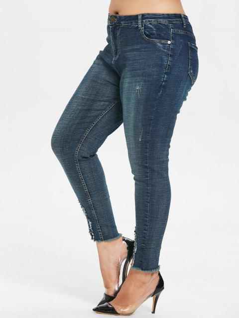 Plus Size Five Pocket Skinny Jeans - DENIM DARK BLUE L