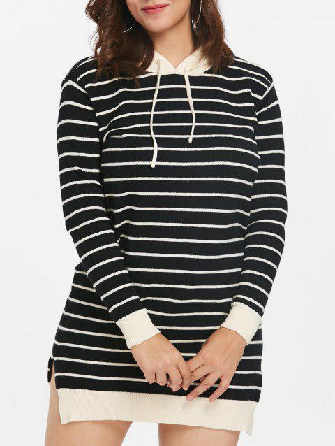 Plus Size Striped Tunic Sweater Dress - BLACK L