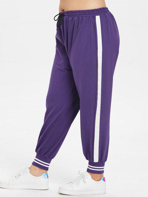 Plus Size Two Tone Sports Pants - PURPLE 1X