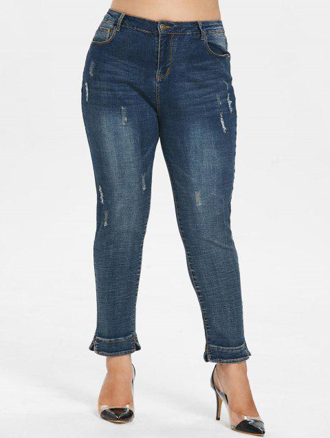a1e78003f6a79 LIMITED OFFER  2019 Plus Size Distressed Detail Jeans In DENIM DARK ...