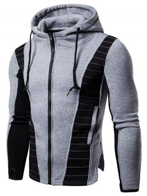 Zip Up Contrast Color Drawstring Hoodie - LIGHT GRAY L
