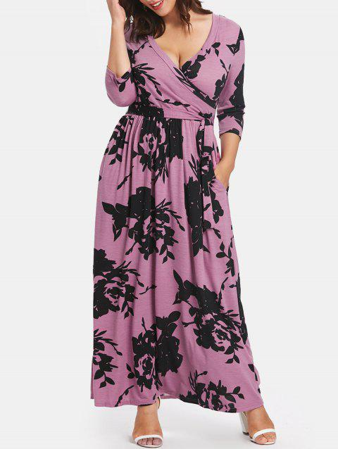 Surplice Neck Plus Size Tie Front Maxi Dress - PURPLE 2X