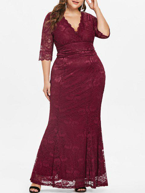 Bodycon Plus Size Lace Maxi Dress - RED 1X