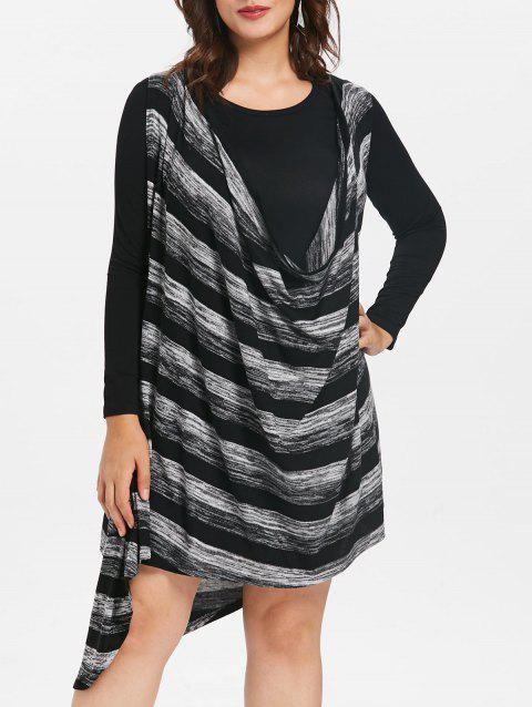 Plus Size Color Block Cowl Neck Two Piece Dress - GRAY ONE SIZE