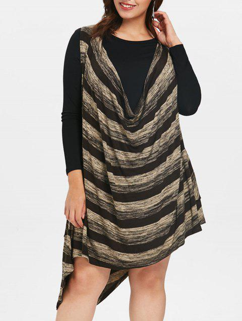 Plus Size Color Block Cowl Neck Two Piece Dress - COFFEE ONE SIZE