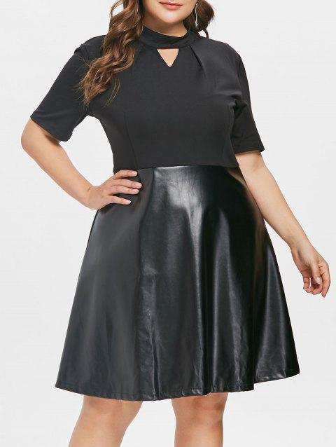 17% OFF] 2019 Plus Size Faux Leather Panel Flare Dress In BLACK L ...