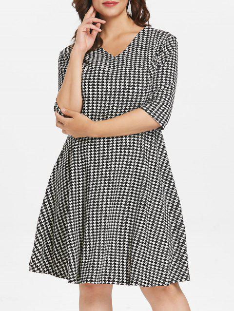 52% OFF] 2019 Plus Size Houndstooth Knee Length Dress In BLACK 3X ...
