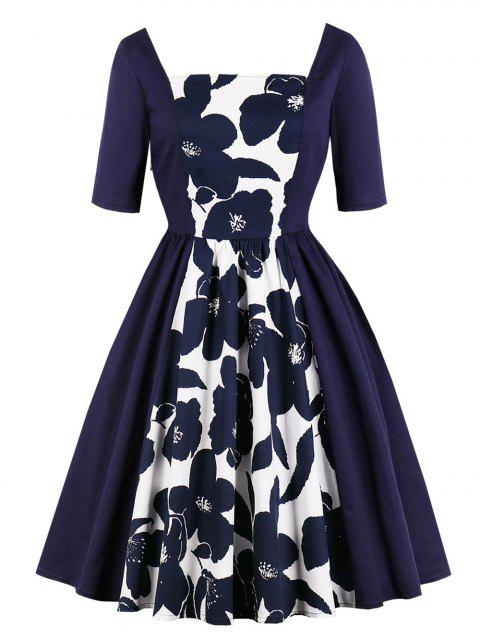 Retro Square Collar Floral Print Pin Up Dress - DEEP BLUE M
