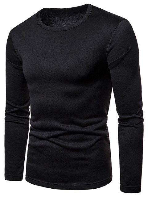 Round Neck Whole Colored Tee Shirt - BLACK L