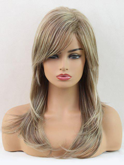 Long Inclined Fringe Layer Colormix Natural Straight Synthetic Wig - multicolor