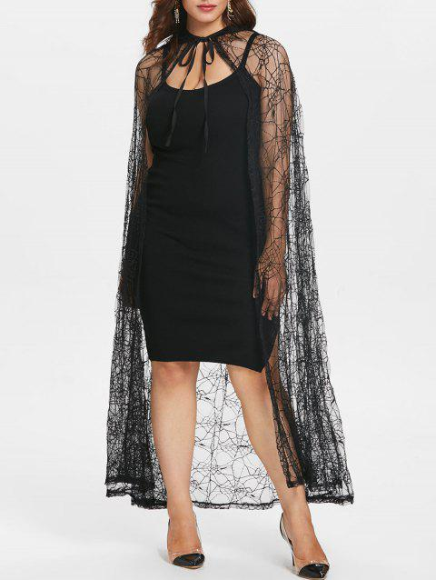 c6cc459f171 17% OFF  2019 Spider Web Plus Size Halloween Lace Cloak Coat In ...