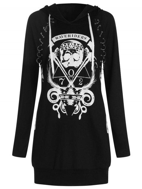 Skulls Graphic Pullover Hoodie with Becket - BLACK XL