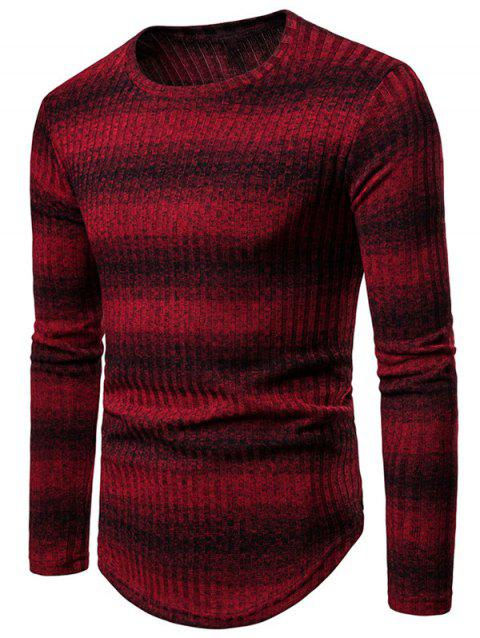 Casual Striped Round Neck Sweater - RED WINE XL