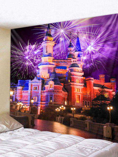 Fireworks Castle Wall Tapestry Art Decoration - multicolor W91 X L71 INCH