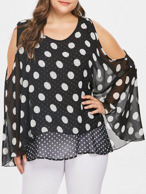 ad0bab4c59e 59% OFF  2019 Plus Size Polka Dot Overlay Tunic Blouse In BLACK 3X ...