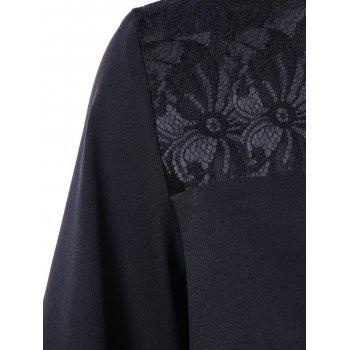 Floral Lace Panel Puff Sleeve Blouse - BLACK XL