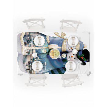 Snowman Couple Print Waterproof Tablecloth - multicolor W54 X L72 INCH