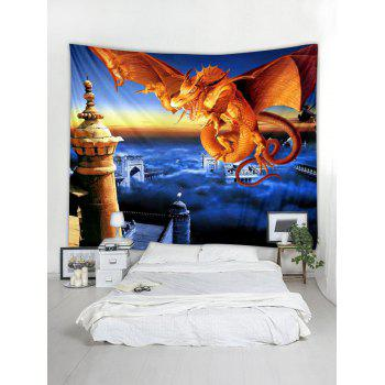 Fly Dragon Printed Wall Tapestry Art Decor - multicolor W91 X L71 INCH