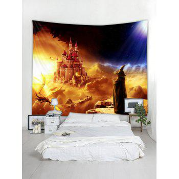 Halloween Wizard Castle Printed Wall Tapestry Art Decor - multicolor W79 X L59 INCH