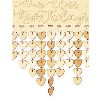 Wooden Our Class Birthday Calendar Board - BURLYWOOD HEART