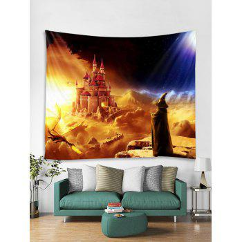 Halloween Wizard Castle Printed Wall Tapestry Art Decor - multicolor W79 X L71 INCH