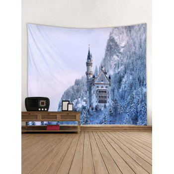 Snow Forest Printed Wall Tapestry Art Decor - multicolor W79 X L71 INCH