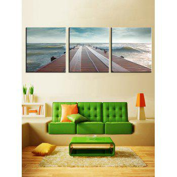 Seaside Fridge Print Unframed Canvas Paintings - multicolor 3PCS X 16 X 16 INCH( NO FRAME )