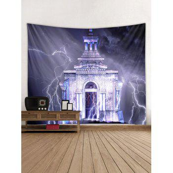 Lightning Castle Wall Tapestry Art Decoration - multicolor W91 X L71 INCH