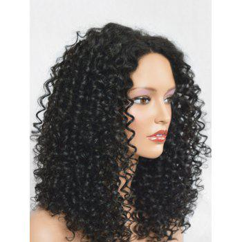 Center Parting Medium Synthetic Curly Wig - NATURAL BLACK