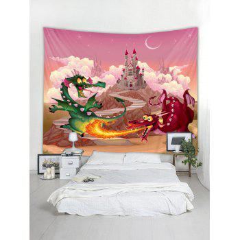 Dragon Castle Wall Tapestry Art Decoration - HOT PINK W79 X L71 INCH