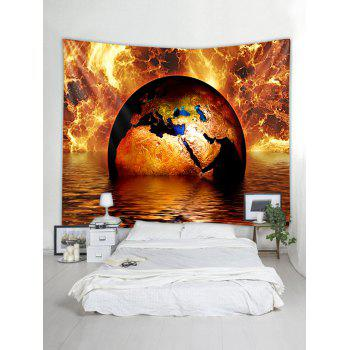 Fire and Water Earth Print Tapestry Wall Art - multicolor W91 X L71 INCH