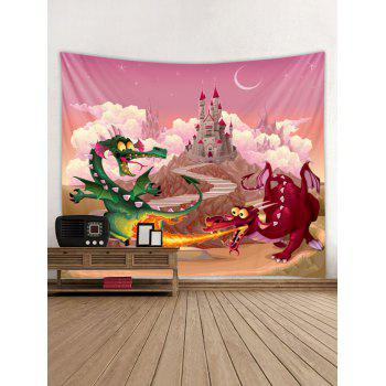 Dragon Castle Wall Tapestry Art Decoration - HOT PINK W91 X L71 INCH