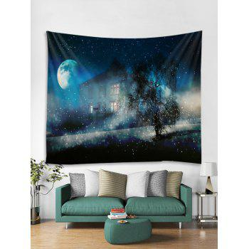 Starry Night House Print Tapestry Wall Art - multicolor W59 X L59 INCH