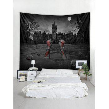 Halloween Skull Blood Printed Wall Tapestry Art Decor - GRAY W91 X L71 INCH