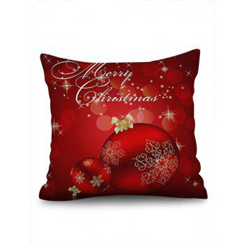 Christmas Snowflakes Baubles Printed Throw Pillow Case - RUBY RED W18 X L18 INCH