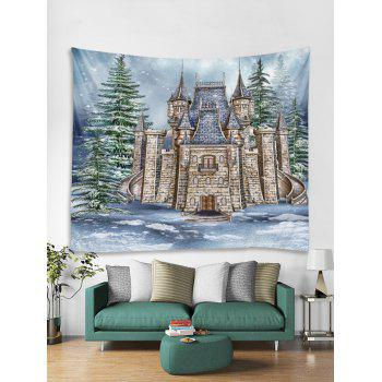 Christmas Castle Forest Printed Wall Tapestry Art Decor - multicolor W79 X L71 INCH