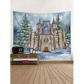 Christmas Castle Forest Printed Wall Tapestry Art Decor - multicolor W91 X L71 INCH