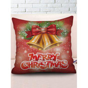 Christmas Bells Pattern Home Decor Throw Pillow Case - CHERRY RED W18 X L18 INCH