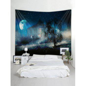 Starry Night House Print Tapestry Wall Art - multicolor W79 X L71 INCH