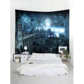 Halloween Night Printed Wall Tapestry Decor - GRAY W59 X L51 INCH