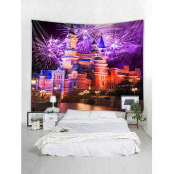 Fireworks Castle Wall Tapestry Art Decoration - multicolor W79 X L71 INCH