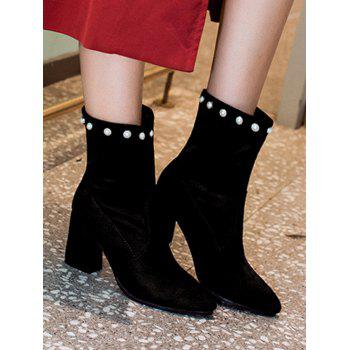 Faux Pearl Pointed Toe Short Boots - BLACK EU 37