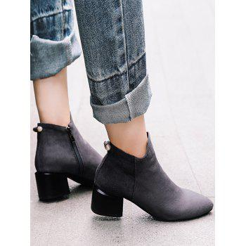 Plus Size Pointed Toe Faux Pearl Ankle Boots - GRAY EU 40